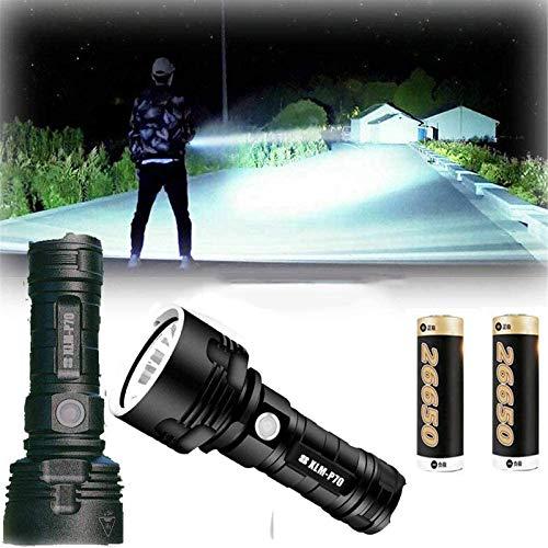 Luz de flash LED impermeable de alta potencia de 30000-100000 lúmenes, linternas recargables súper brillantes de 3 modos con zoom (P70 con 26650 (2 baterías))