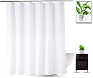 WellColor Short Shower Curtain Liner 72 x 66 Inch, White Water Repellent Weighted Fabric Shower Liner for Bathroom Hotel Spa, Odorless, Washable, 66 inch