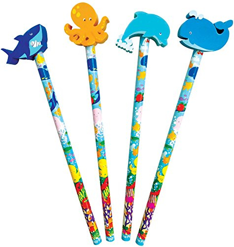 The Piggy Story 'Under The Sea' Set of 4 Pencils with Die-Cut Eraser Toppers