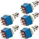 Mintice™ 5 X 3PDT 9 Pins Boîte stomp guitare Pédale d'effet interrupteur au pied Vrai dérivation métal bleu