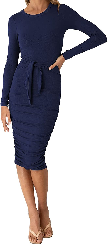 AOHITE Women's Tie Waist Long Sleeve Cocktail Dress Ruched Bodycon Knit Midi Club Dress