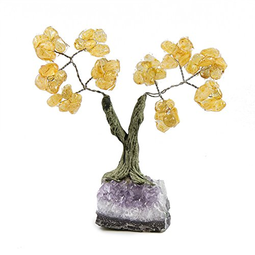 Beverly Oaks Charged Healing Crystals Bonsai Tree On Raw Amethyst Crystal Base ~All Natural Gemstone Tree ~ Money Tree Featuring Healing Stones (Citrine)