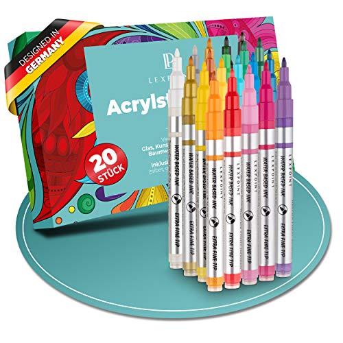 LEXPOINT | Acrylstifte - Marker Stifte 20 Farben [5x Metallic] - 0,7mm feine Spitze - Acrylfarben Stifte für Glas, Porzellan, Keramik, Holz, Stein