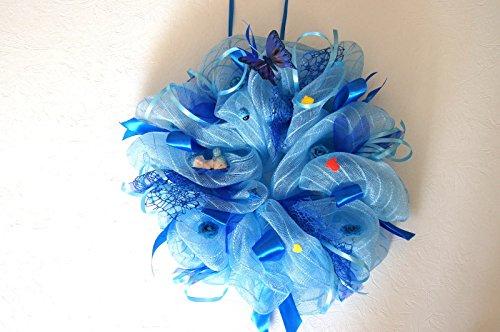 tatjana-land-deko Türkranz Wandkranz Baby Zur Geburt Türdeko Taufe Geschenk Rosa Blau Junge BA02 (BA02 Blau)