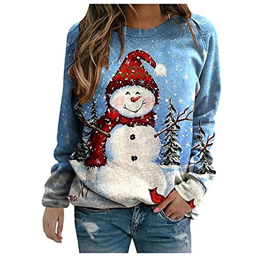Sudadera para mujer, informal, con estampado navideño, costuras en contraste, manga larga, cuello redondo, para mujer, azul claro, XL