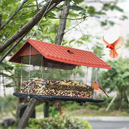 Funpeny Hanging Wild Bird Feeder, Red Roof House Bird Feeders and Garden Decoration for Bird Watchers and Children