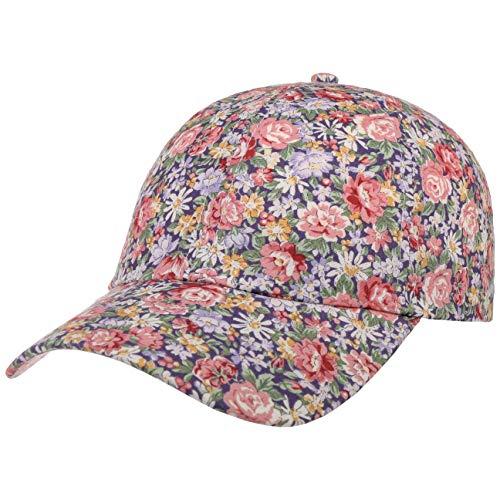 Lipodo Allover Flowers Cap Damen - Damencap aus Baumwolle - Mütze mit Blumenprint - Klettverschluss größenverstellbar (One Size 54-59 cm) - Baseballcap Frühjahr/Sommer dunkelblau-Altrosa One Size