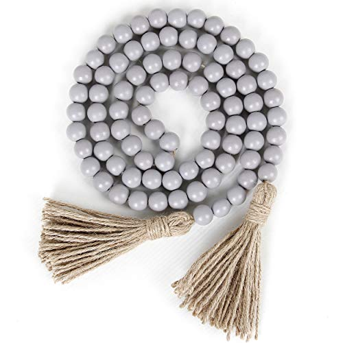 58in Wood Bead Garland with Tassels,Farmhouse Beads Rustic Country Decor Prayer Boho Beads Wall Hanging Decoration (Gray)