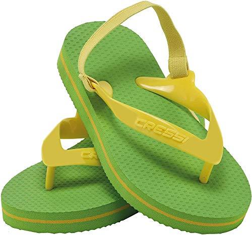 Cressi Baby Beach Flip Flops with Strap, Ciabatte Infradito Bambini per Spiaggia e Piscina Unisex, Verde, 19/20
