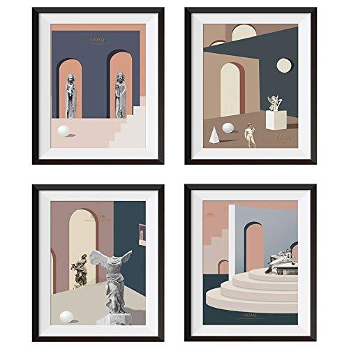 Muurstickers voor kamerdecoratie DIY Achtergrond Kopie 3D DIY Valse fotolijst 4 Koppel Sculptuur Wandhuis 25X30cm