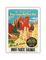 この夏訪問ブライスキャニオン国立公園ユタ州 - グランドキャニオン、ザイオン、ブライス国立公園:3つすべてを参照してください。 - ユニオン・パシフィック鉄道 - ビンテージな世界旅行のポスター c.1935 - アートポスター - 23cm x 31cm