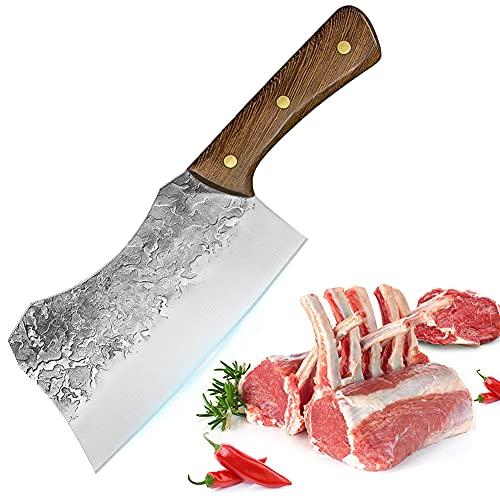BILLION DUO Cuchillo de Carnicero - 18.5 cm Cuchillo de Carnicero Huesos - Cuchillos de cuchilla de carne forjada a mano, Hacha de Carnicero Cuchilla Engrosada para Cortar Huesos
