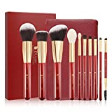 DUcare 10 PC Brochas Maquillaje Set Profesional + Bolso Rojo Sintético Set Brochas maquillaje Pinceles Maquillaje Profesional Makeup Brushes