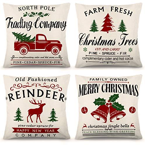 YGEOMER Christmas Pillow Covers Christmas Farmhouse Throw Pillow Cover, 18 x 18 Inch Farmhouse Cushion Case for Sofa Couch Set of 4