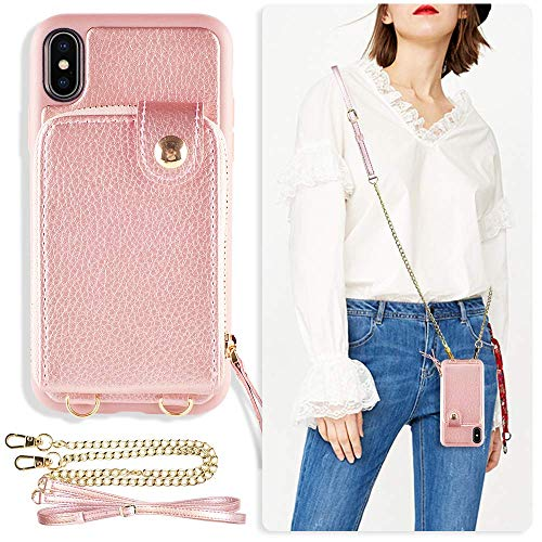 ZVE iPhone x Wallet Case, Case for iPhone x and xs, Zipper Wallet Case with Credit Card Holder Slot Wrist Strap and Adjustable Crossbody Strap Case for iPhone x iPhone Xs 5.8 inch-Rose Gold