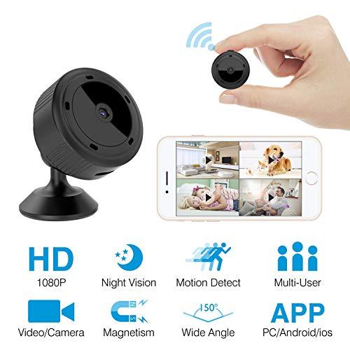Mbswdd Mini cámara espía WiFi Cámara Oculta Cámara espía HD 1080P Cámara remota Pequeña cámara inalámbrica Seguridad para el hogar Cámaras de vigilancia Visión Nocturna y detección de Movimiento