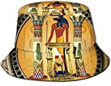 Bernice Winifred Sombreros de Cubo Transpirables de Parte Superior Plana Unisex Acuario Sombrero de Cubo Verano Sombrero de Pescador-Anubis el Dios Egipcio-Talla única