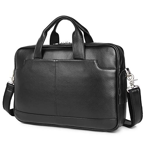 Augus Genuine Full Grain Leather Laptop Briefcase for Men 15.6 Inch Laptop Bag Messenger Tote Bags With YKK Zipper Black