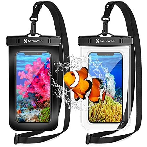 Pochette Étanche Smartphone [Lot de 2] , Syncwire Sac étanche IPX8 Touch Sensible pour Téléphone iPhone 12 Pro Max, 12, 11 Pro, XS Max, XR, XS, X,7 8, Samsung S21/S20/S10, Huawei P30 Pro - 7 Pouce