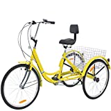 ABORON Bike Tricycle Adult 3 Wheels Bike Trike (Corn-Yellow, Dia. 26' Wheels)
