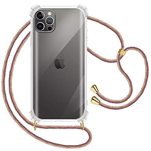 XTCASE Carcasa con Cuerda para iPhone 12 / iPhone 12 Pro Silicona Transparente, Ultrafina Suave TPU Funda de movil con Colgante [Moda y Practico] [Anti-rasguños Anti-Choque] - Arco Iris