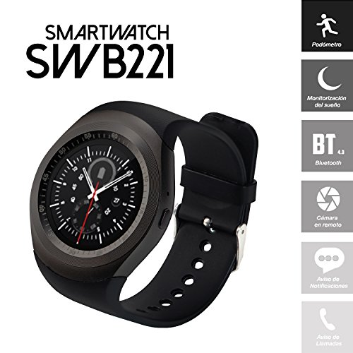 Smartwatch SWB221 (Bluetooth, Android/iOS) con Pantalla Redonda