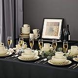 Vancasso Kombiservice Set, Navia Geschirrset aus Steingut, 48 teilig Tafelservice, Vintage Aussehen, Natur Design, beige gelb - 9