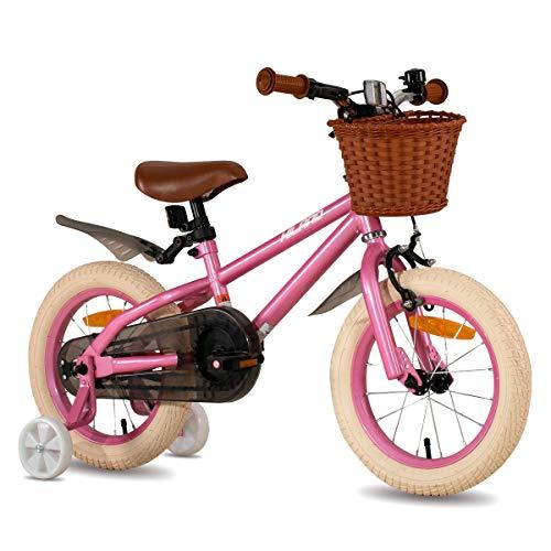 HILAND ins Star 14 16 Zoll Kinderfahrrad für Mädchen Jungen 3-6 Jahre mit Stützräder, Handbremse und Rücktritt rosa