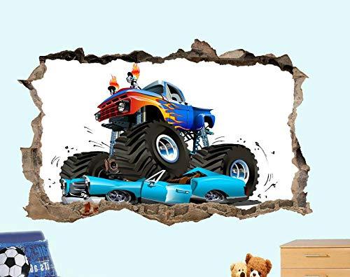BFLOF Wandtattoo Monster Truck Crash Auto Wandaufkleber 3D Kunst Poster Wandbild Kinder Dekoration 60×90cm