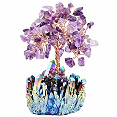 "Size for crystal tree is approximately 2.3""-2.9"" in height, 1.9""-2.5"" in wide(when open up the leaves); Size for the crystal cluster base is approximately 1.2""-2.4""; Weight range from 150-300 grams. Due to the natural creation of crystal cluster base..."