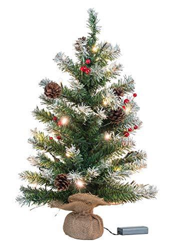 Britesta Tannenbaum Deko: Deko-Weihnachtsbaum mit 30 LEDs, Pinienzapfen und Eibenbeeren, 60 cm (Deko Weihnachtsbaum klein)