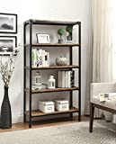eHomeProducts 5-Tier Vintage Brown Industrial Look Black Metal Bookcase Bookshelf Shelf Heavy Duty