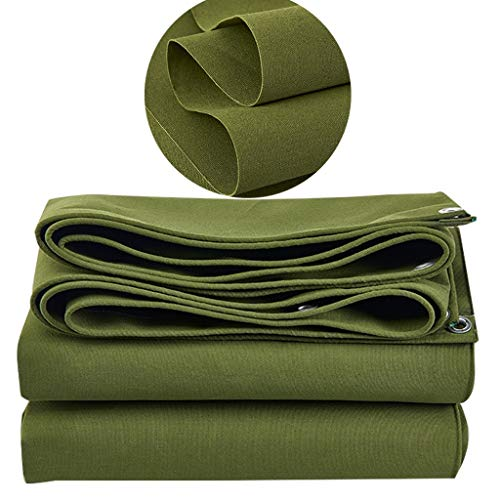 WXQIANG 21 Oz Heavy Duty Canvas Tarps With Grommets, Waterproof Canvas Tarp, Multi Purpose Tarp Cover, Tarpaulin Reinforced Edges, Durable, UV Resistant, Green (Size : 5X7m/13'x22')