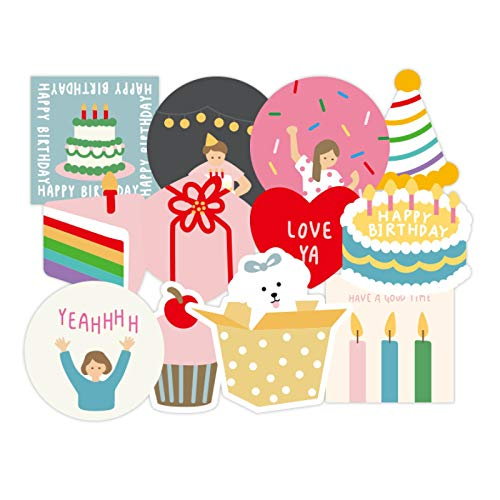 YMSD Birthday party suitcase vsco sticker set suitcase waterproof colorful sticker cute cartoon girl heart sticker 12pcs