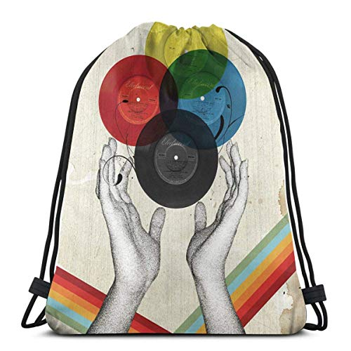 CMYK The Creation Of Retro Drawstring Backpack Bag Lightweight Gym Travel Yoga Casual Snackpack Shoulder bag for Hiking Swimming beach