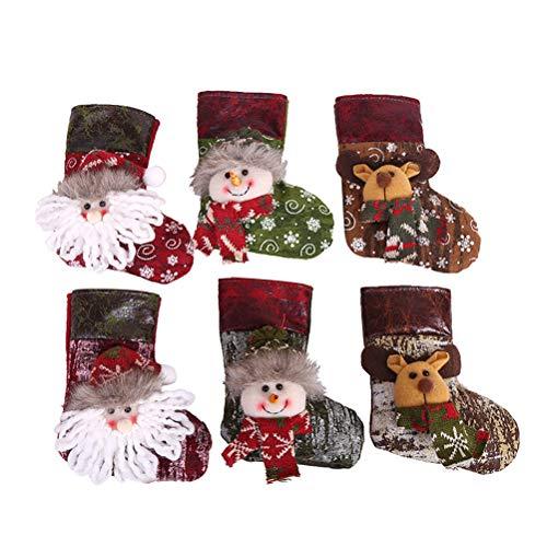 BESTOYARD Cadeau de Noël Chaussettes Chaussettes Sac Décorations de Table Décorations pour Arbres 6pcs