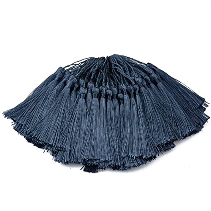 Makhry 100pcs 13cm/5 Inch Silky Floss Bookmark Tassels with 2-Inch Cord Loop and Small Chinese Knot for Jewelry Making, Souvenir, Bookmarks, DIY Craft Accessory (Dark Grey)