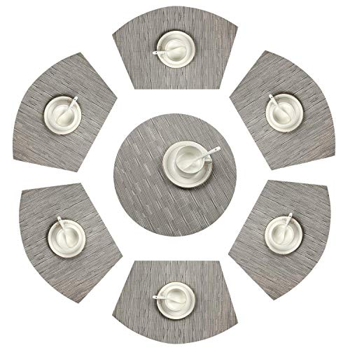 SHACOS Set of 7 Round Table Placemats 13 inch Wedge Placemat PVC Heat Resistant Kitchen Dining Table Mats Washable (Silver Grey)