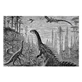 Hitecera Dinosaurs,Puzzle for Adults,Jigsaw Puzzles for Kids Teens, Large Puzzle Stegosaurus and Compsognathus in an Araucaria Landscape. 1000PCS