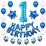 JKJF 1. Decoración de cumpleaños azul para niños, juego de decoración gigante con número 1, globos con texto Happy Birthday, globos de confeti, globos para fiesta de cumpleaños para niñas y niños