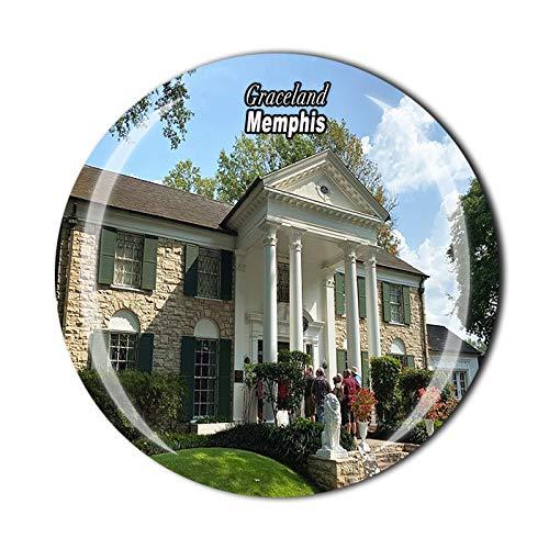 Graceland Memphis USA America - Imán para nevera 3D de cristal para recuerdo de viaje