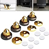 LAMPTOP 4 PCS Golden-Plated Speaker Spikes, Speaker Stands CD Audio Subwoofer Amplifier Turntable Isolation Feet Solid Brass Cone Isolator Brass Base Pads Shockproof Mats with Double-Sided Adhesive