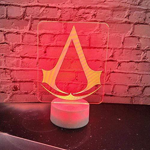 Juego De Luz Nocturna 3D Assassins Creed Logo Lámpara 3D Regalo De Luz Nocturna Para Niños Decoración De Dormitorio Cambio De Color Habitación De Estudio Infantil Lámpara De Luz Nocturna Led 3D