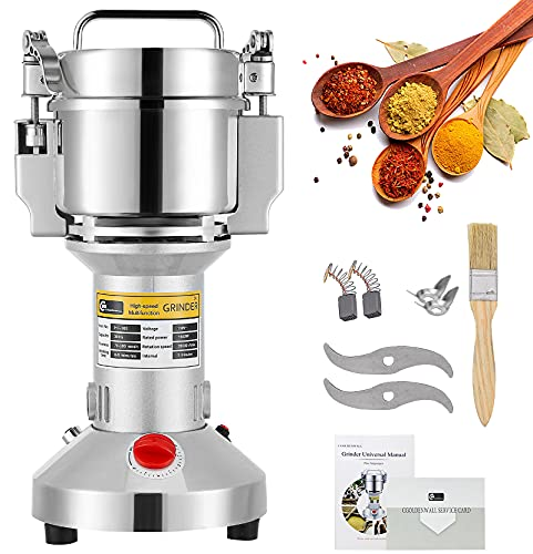 CGOLDENWALL 300g Electric Grain Mill Grinder Safety Upgraded Spice Grinder Pulverizer Stainless Steel Powder Machine for Dry Spices Herbs Grains Coffee Seeds Rice Corn Pepper 110V