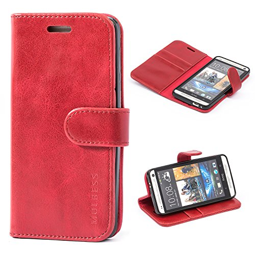 Mulbess Funda HTC One M7 [Libro Caso Cubierta] [Vintage de Billetera Cuero] con Tapa Magnética Carcasa para HTC One M7 Case, Vino Rojo