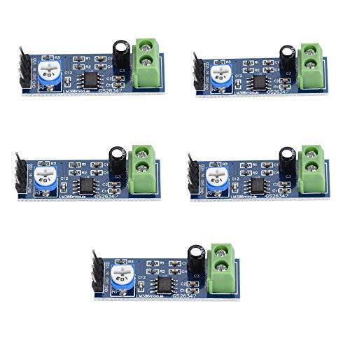 iHaospace 5 Pcs LM386 Audio Power Amplifier Module 200 Gain 10K Adjustable Resistance