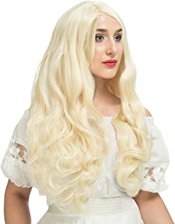 YOPO Wig, Long Curly Light Blonde Wigs for Women, Free Wig Cap & Bobby Pins, 32'' Cosplay Wig, Central Parting Wig(Light Blonde)