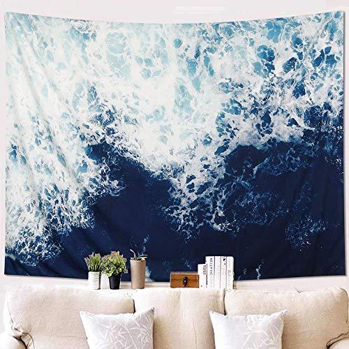 KHOYIME Tapestry Wall Hanging Blue Ocean Wave Tapestry Sea Tapestry Nature Art Tapestry Sea Wall Decor for Bedroom Living Room Dorm (Blue, 58'X 79')