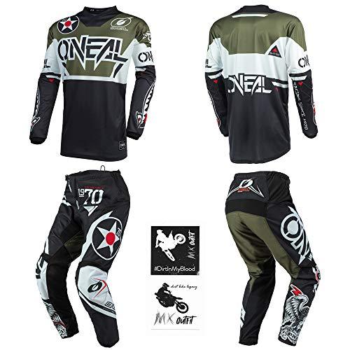 O'Neal Element Warhawk Black/Green Men motocross MX off-road dirt bike Jersey Pants combo riding gear set (Pants W34 / Jersey Large)