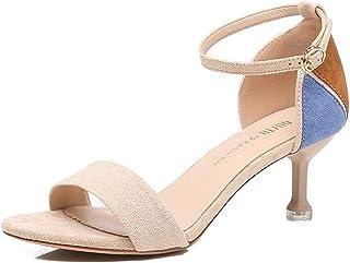 Women's Kitten Sandals Fashion Stilettos Mid Heel Open Toe Strappy Ankle Strap Pump Heel Shoes